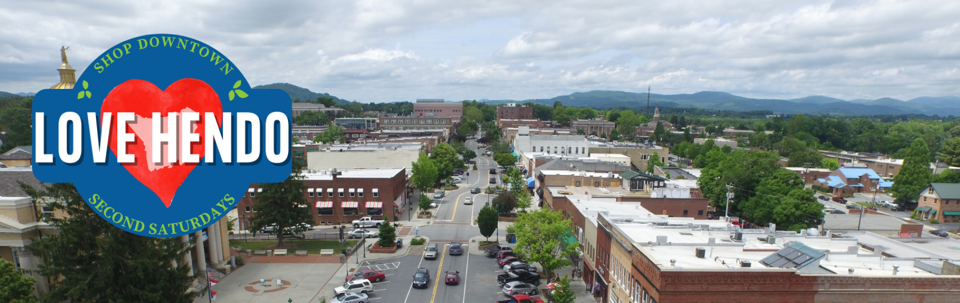 aerial shot of downtown hendersonville