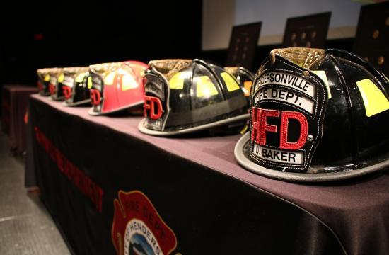 Fire Helmets on a table