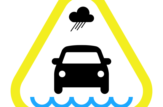 yellow car with flooding info