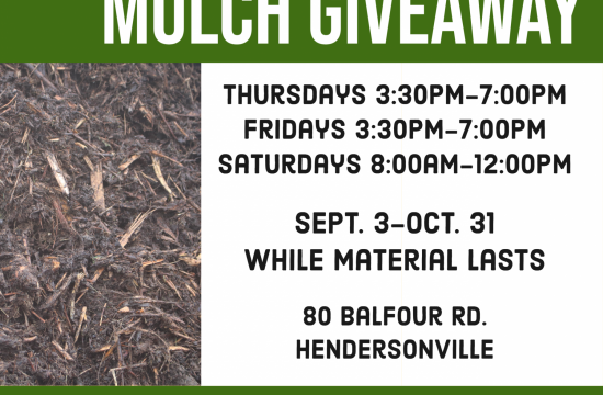 Flyer showing mulch and listing mulch giveaway starting September 3