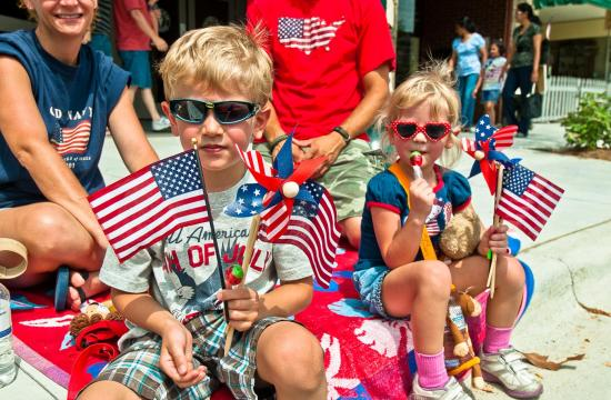 two kids with American flags