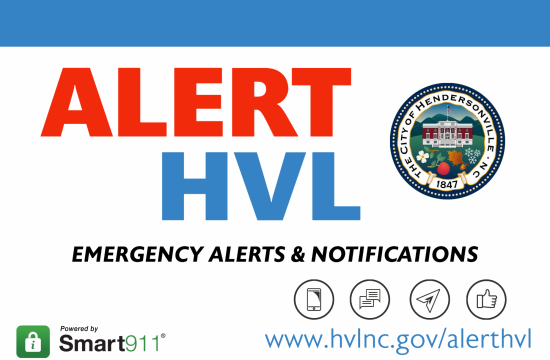 Alert HVL in bold letters with the City of Hendersonville Seal