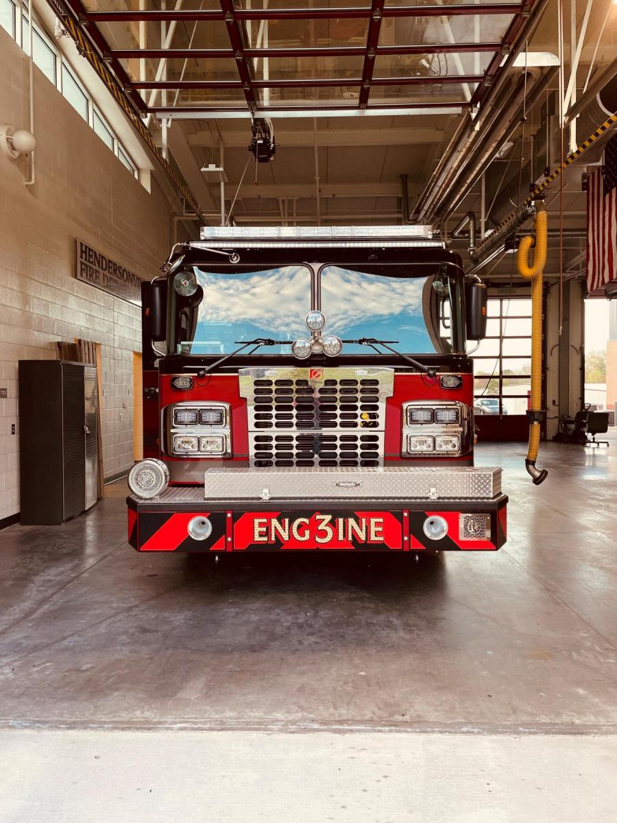 fire engine in bay