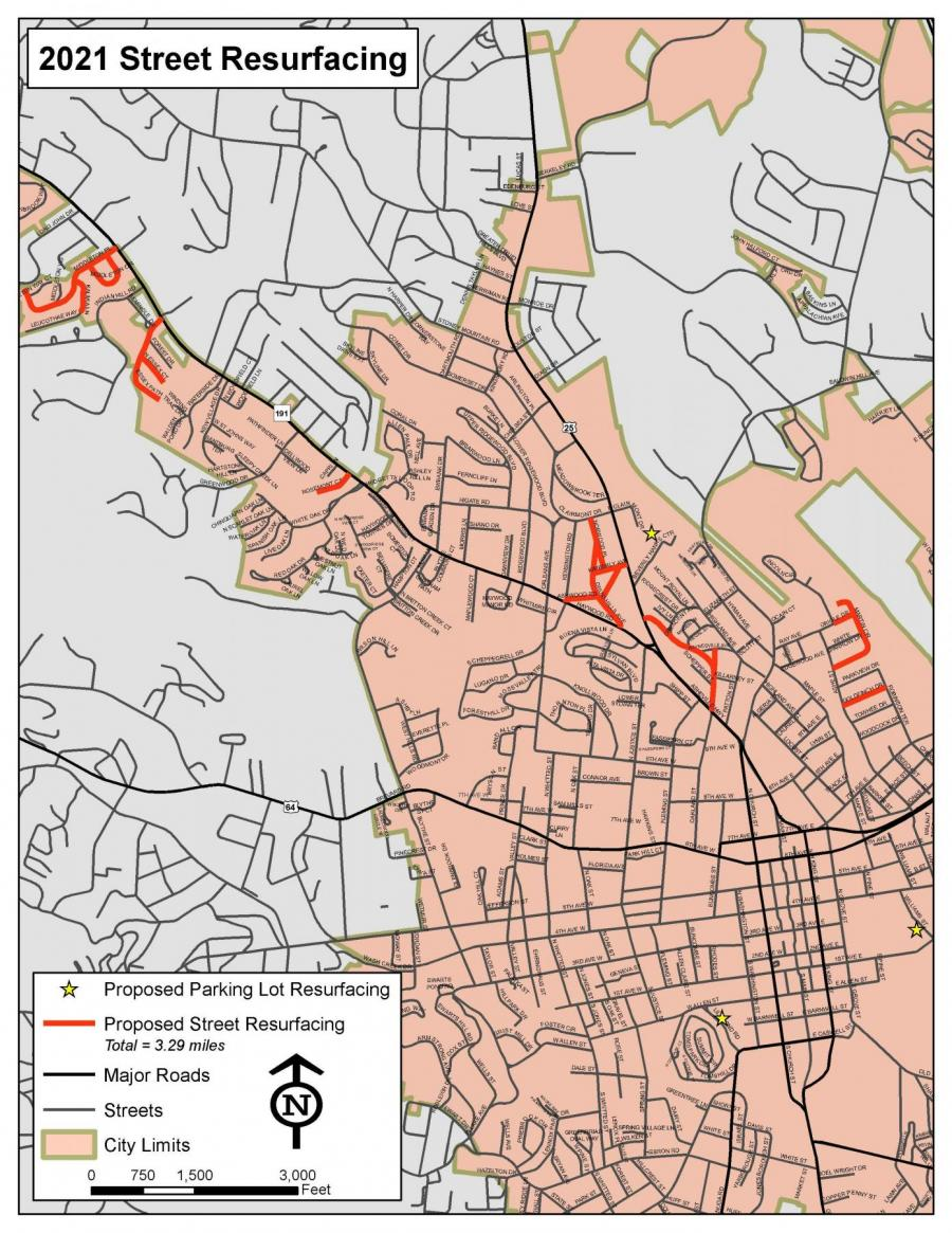 map of hendersonville roads to be paved