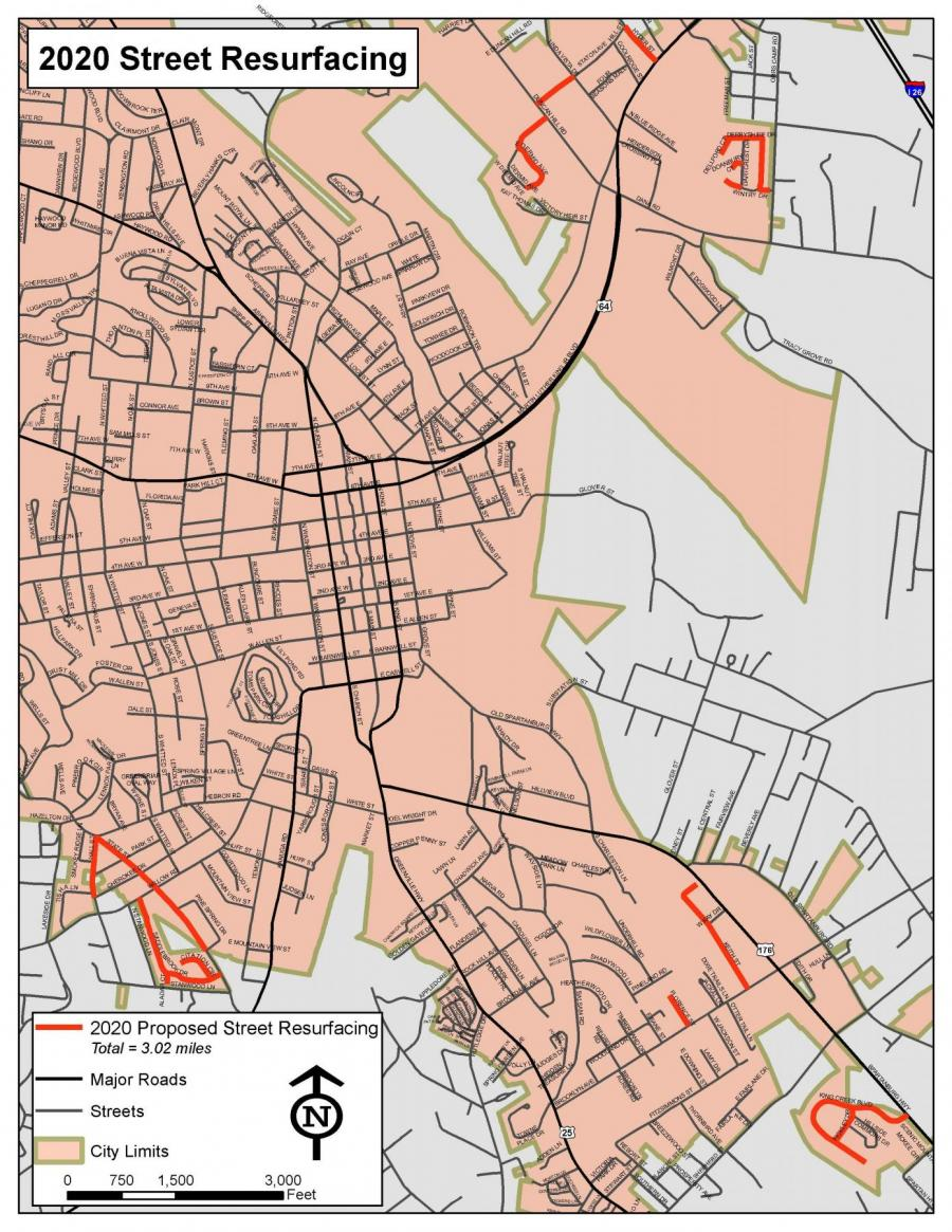 map of streets being resurfaced in 2020