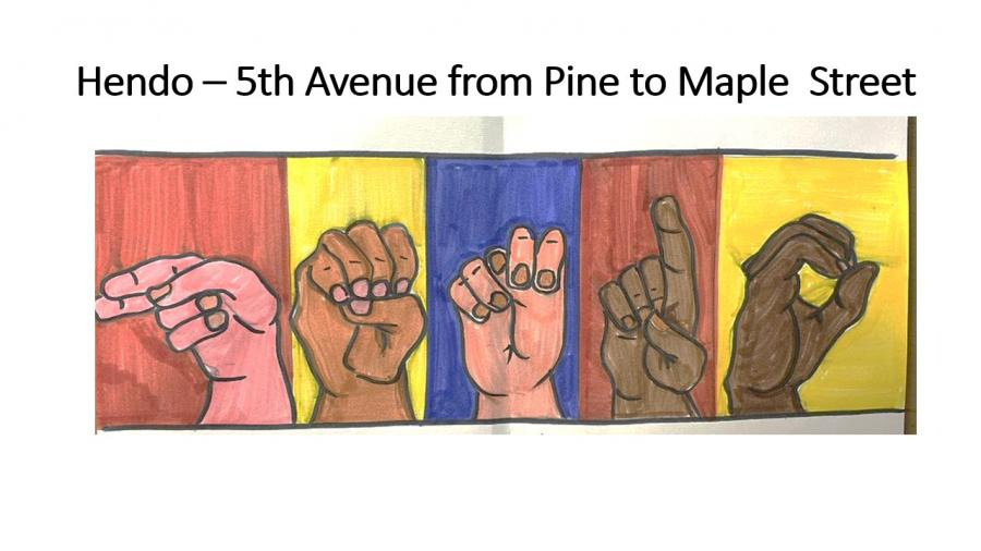 hendo mural concept - hands spelling hendo in american sign language