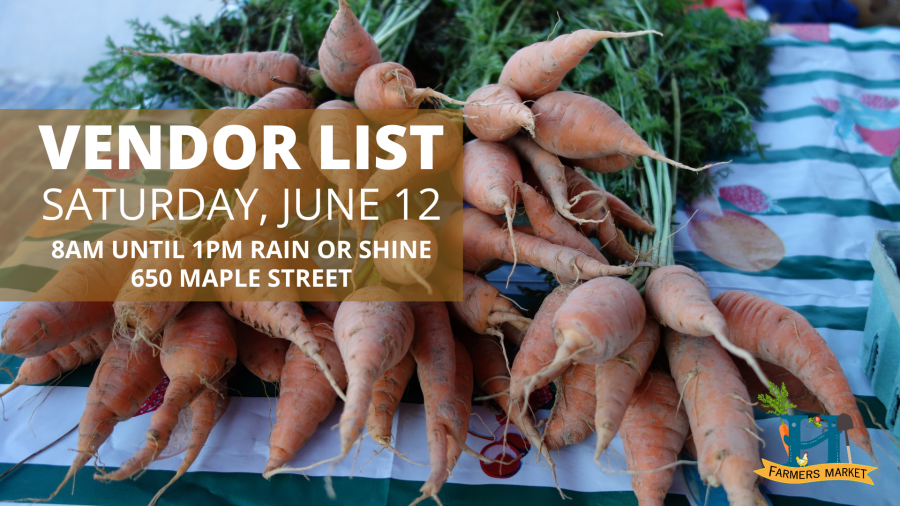 carrots and text that says vendor list for june 15