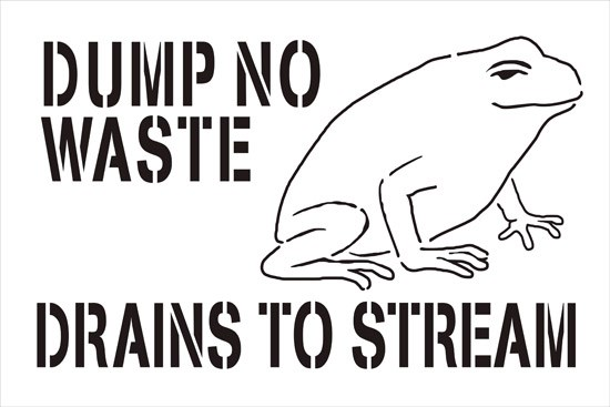 "Image of Stencil Containing Outline of Frog and Text: ""Dump No Waste: Drains To Stream"""
