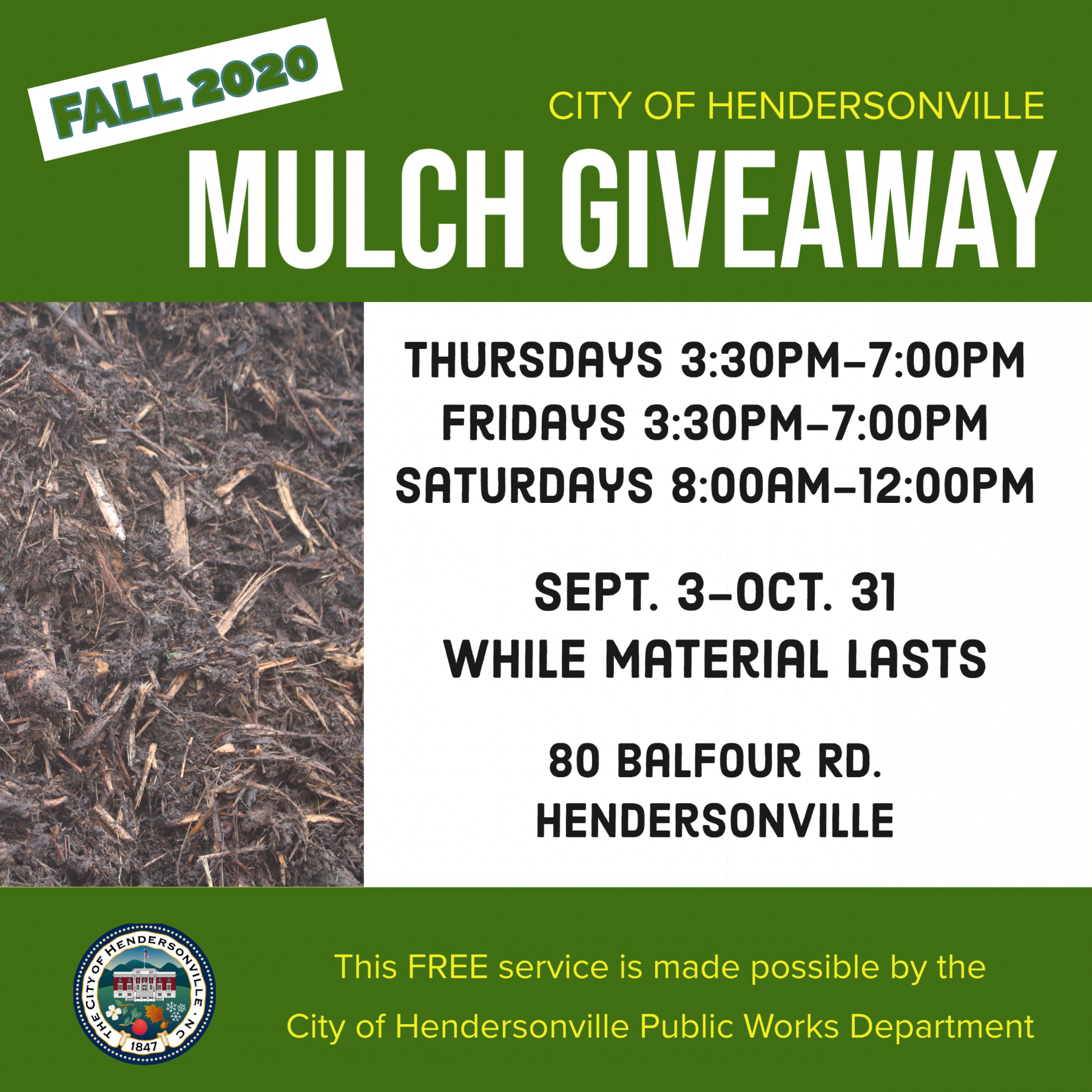 flyer showing picture of mulch and test saying the program begins september 3