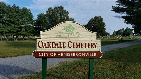 "Photo of sign reading: ""Oakdale Cemetery, City of Hendersonville"""